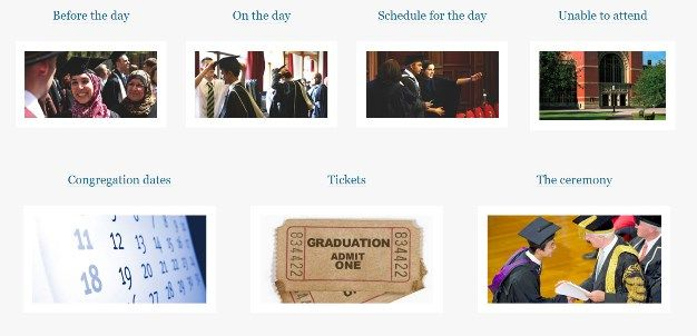 7 pics of different aspects of the University of Birmingham's graduation ceremony e.g. caps, tickets, students