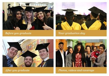 4 images of University of Bradford Students wearing Cap and Gowns at their graduations.