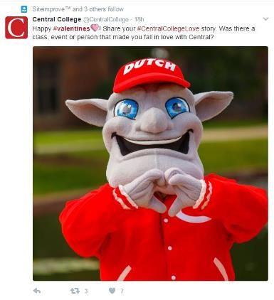 Image of the mascot 'Dutch'  from Central College