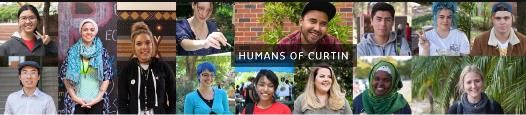 Collage of faces of students with 'Humans of Curtin' on top