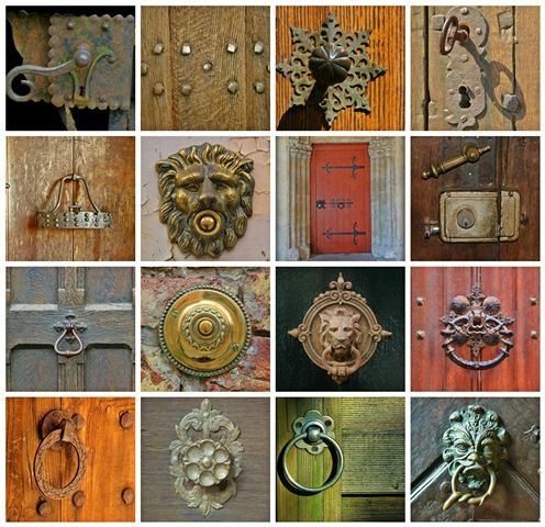 A grid image with 16 images of ornate door knobs