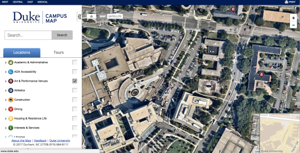 Duke University Map Screenshot
