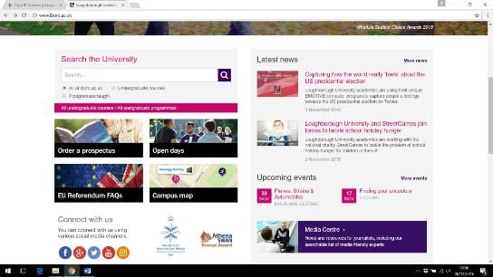 Screenshot of Loughborough University homepage