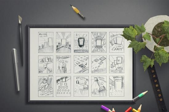 Image of a framed storyboard of user experience