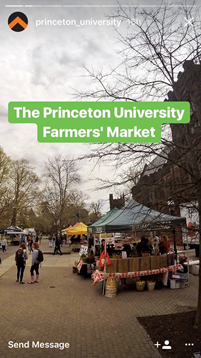 Instagram image of a farmer's market at Princeton University