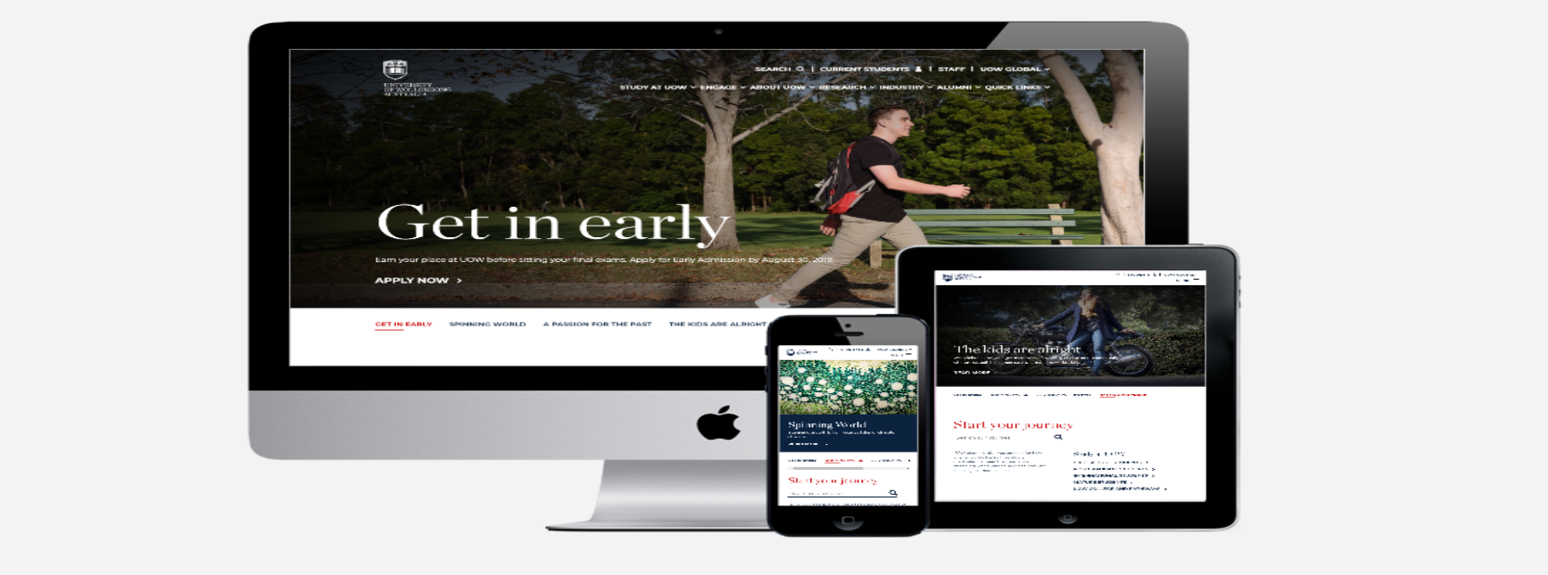 Image of the University of Wollongong's website on multiple devices