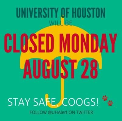 Animation of yellow umbrella on green background with the text saying 'University of Houston will be closed Monday August 28'