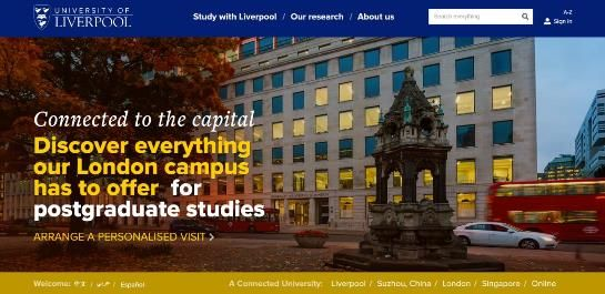 Screenshot of University of Liverpool homepage