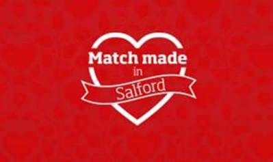 Red background with image of a heart outline with text 'Made made in Salford'