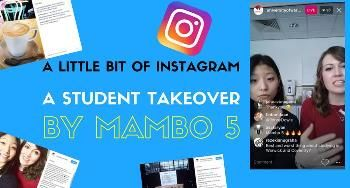 Snapshot of an Instagram post with the text 'A student takeover By Mambo 5'