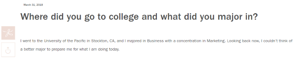 Where did you go to college question on the blog website
