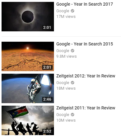 Google year in Search video list