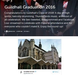 Image of Guildhall School of Music and Drama's Graduation Ceremony on Storify.