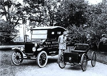 B&W image of Henry ford in front of car