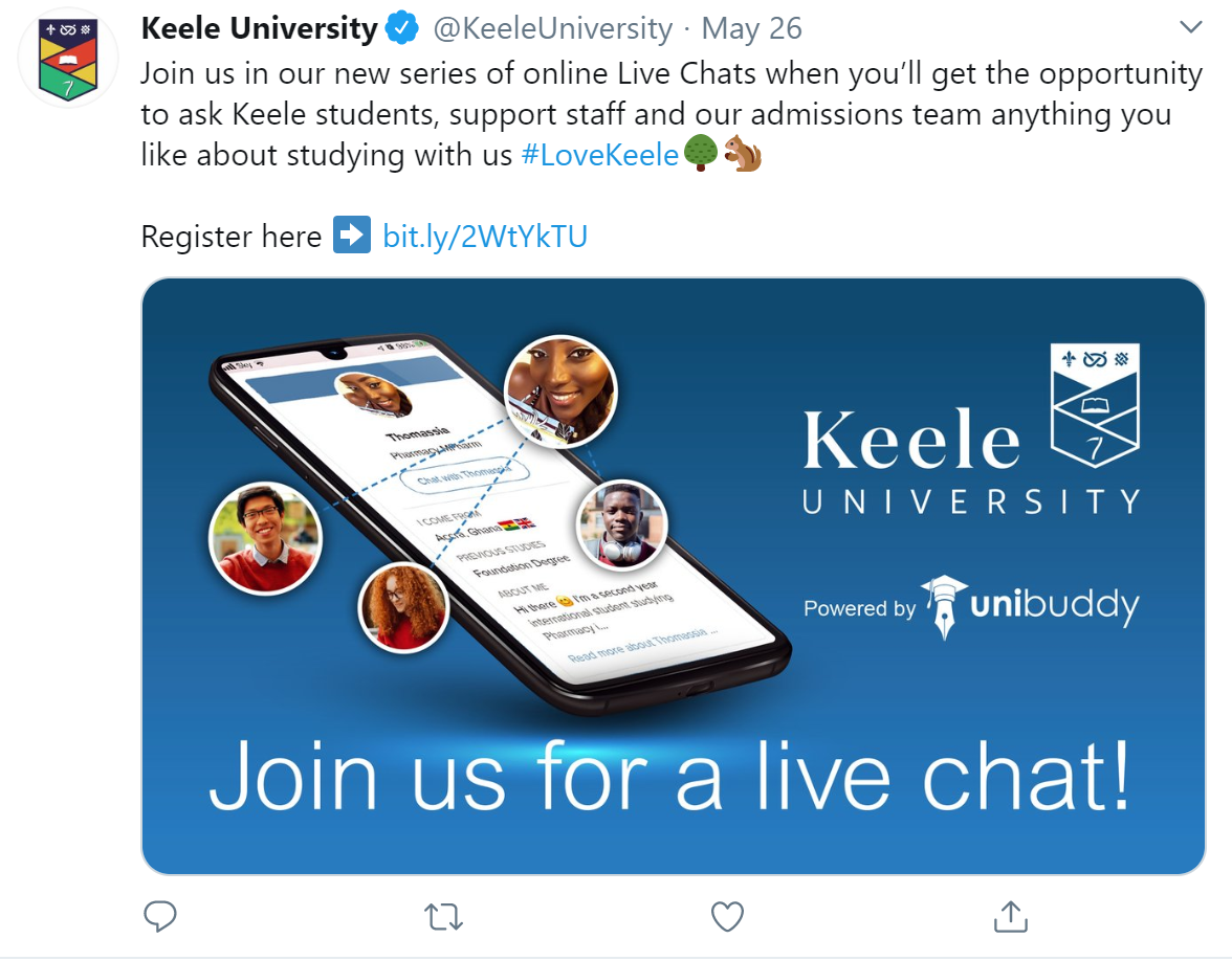 screen shot from Keele University twitter that give details for online chat options