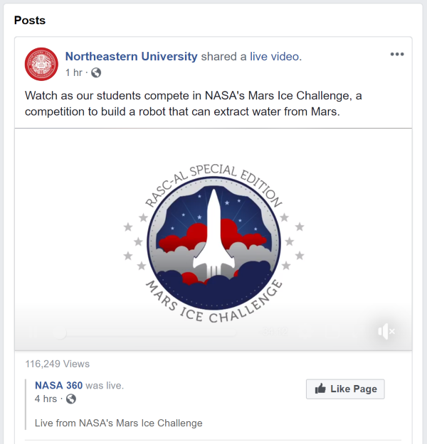 Northeastern NASA Screen Live