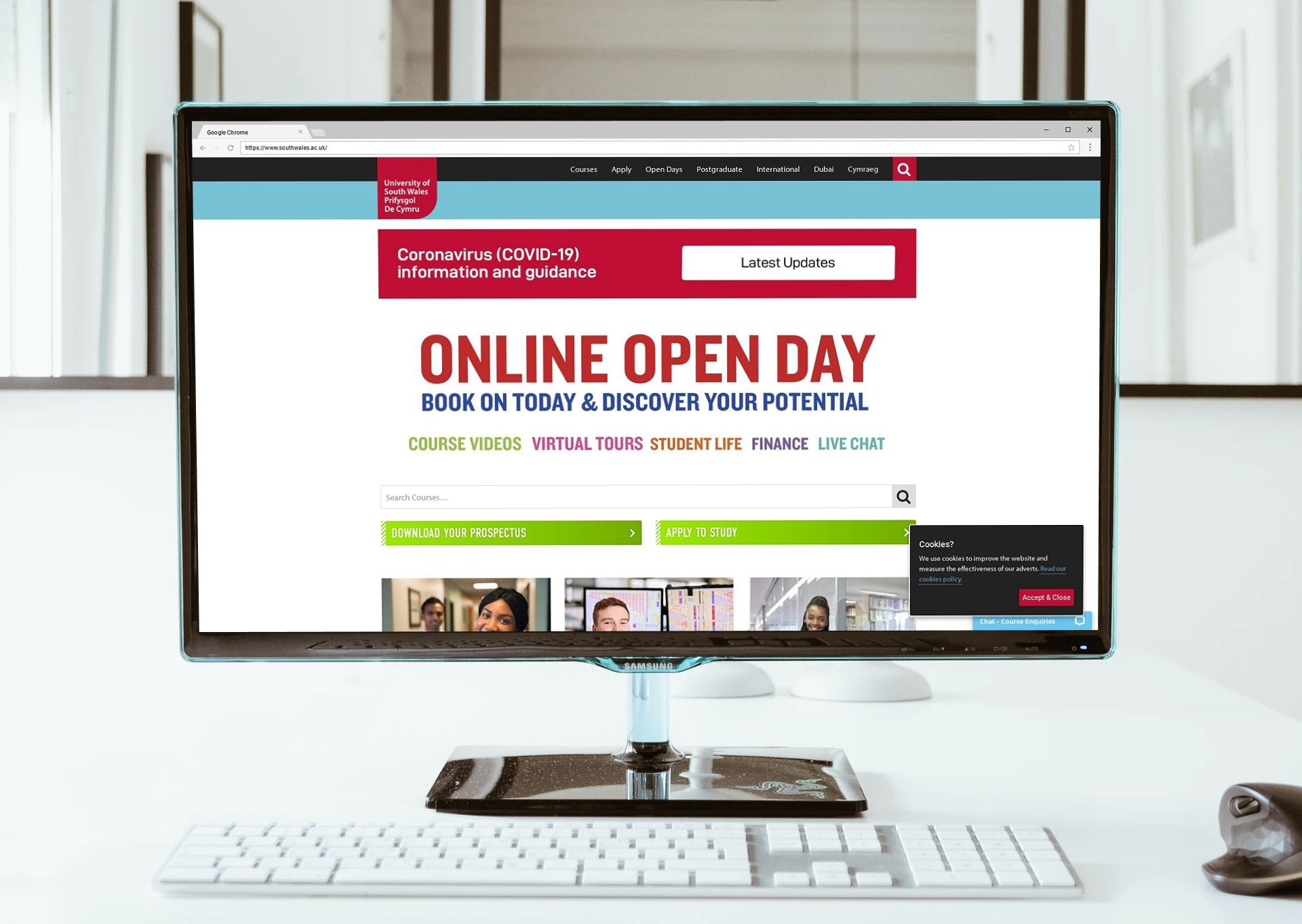 image of desktop screen, open on the university of south wales homepage. it features information on virtual open days at the university