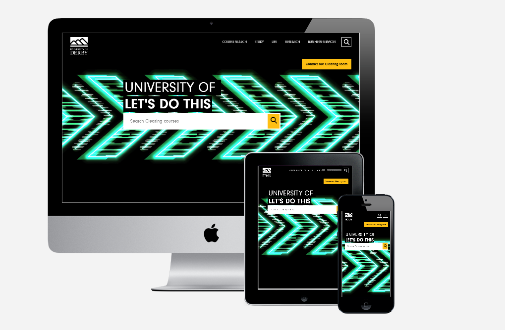 Image of University of Derby's website on multiple devices